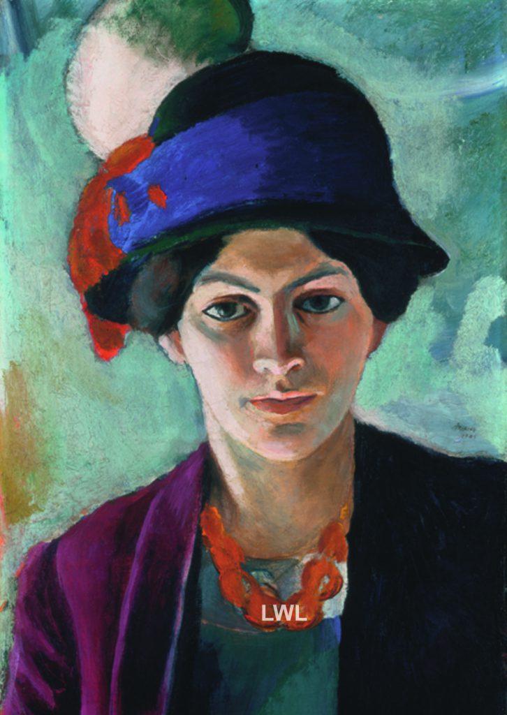 August Macke Porträt der Künstlerin mit Hut und LWL Logo